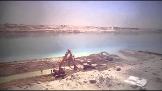 Wall of stone work for the new Suez Canal using stones and plastic