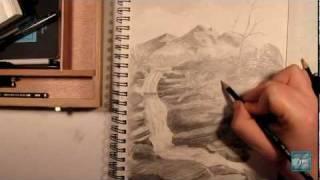 Waterfall Mountain Sketch