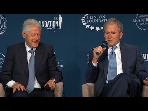 Bill Clinton, George W. Bush laugh and jab at one another