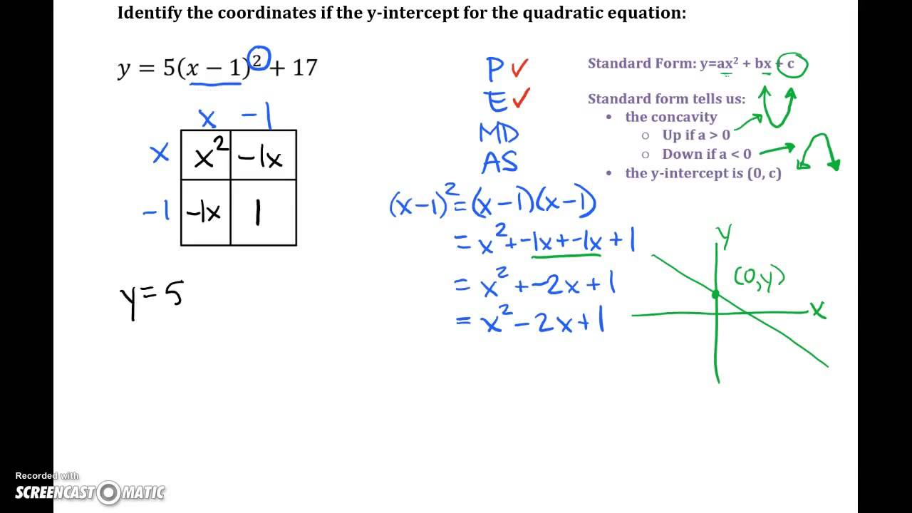Quadratic equations vertex form to standard form youtube quadratic equations vertex form to standard form falaconquin