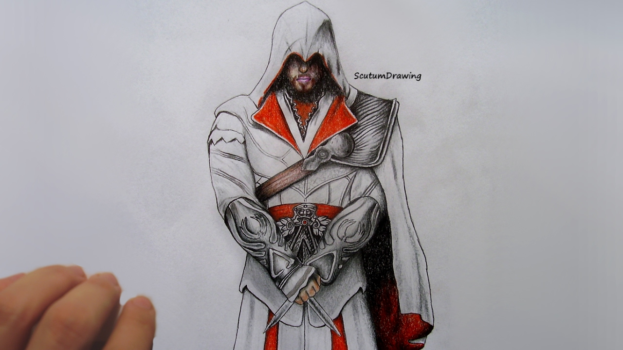 Ezio Auditore Speed Drawing How To Draw Assassin S Creed Brotherhood Youtube