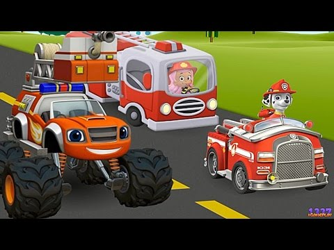 PAW Patrol & Blaze and the Monster Machines FIREFIGHTERS | Cartoon Game Episode for Kids thumbnail