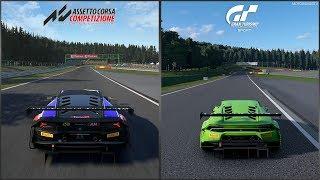 Assetto Corsa Competizione vs Gran Turismo Sport - Lamborghini Huracan GT3 '15 at SPA Comparison