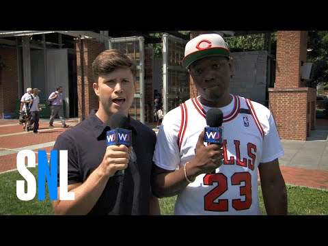 Thumbnail: Colin Jost and Michael Che Chat With Bernie Supporters at the DNC