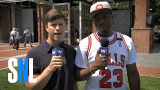 Colin Jost and Michael Che Chat With Bernie Supporters at the DNC