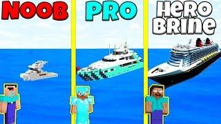 Minecraft Battle: NOOB vs PRO vs HEROBRINE: YACHT BUILD CHALLENGE / Animation