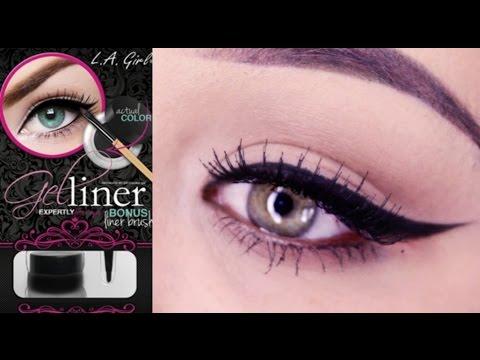La Girl Line Art Matte Eyeliner Review : How to winged cat eye feat l a girl gel liner youtube