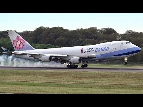 China Airlines Cargo · Boeing 747-400F · Landing and Close-up Taxi in Luxembourg