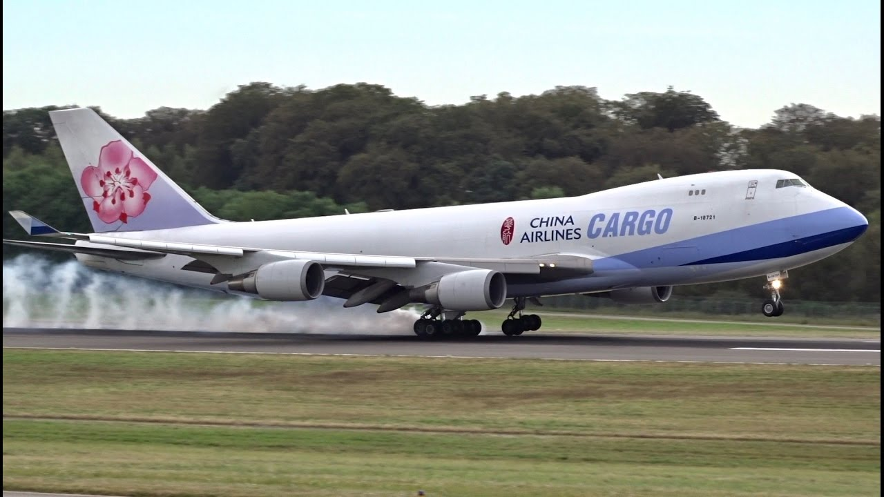 China Airlines Cargo · Boeing 9-9F · Landing and Close-up Taxi in  Luxembourg
