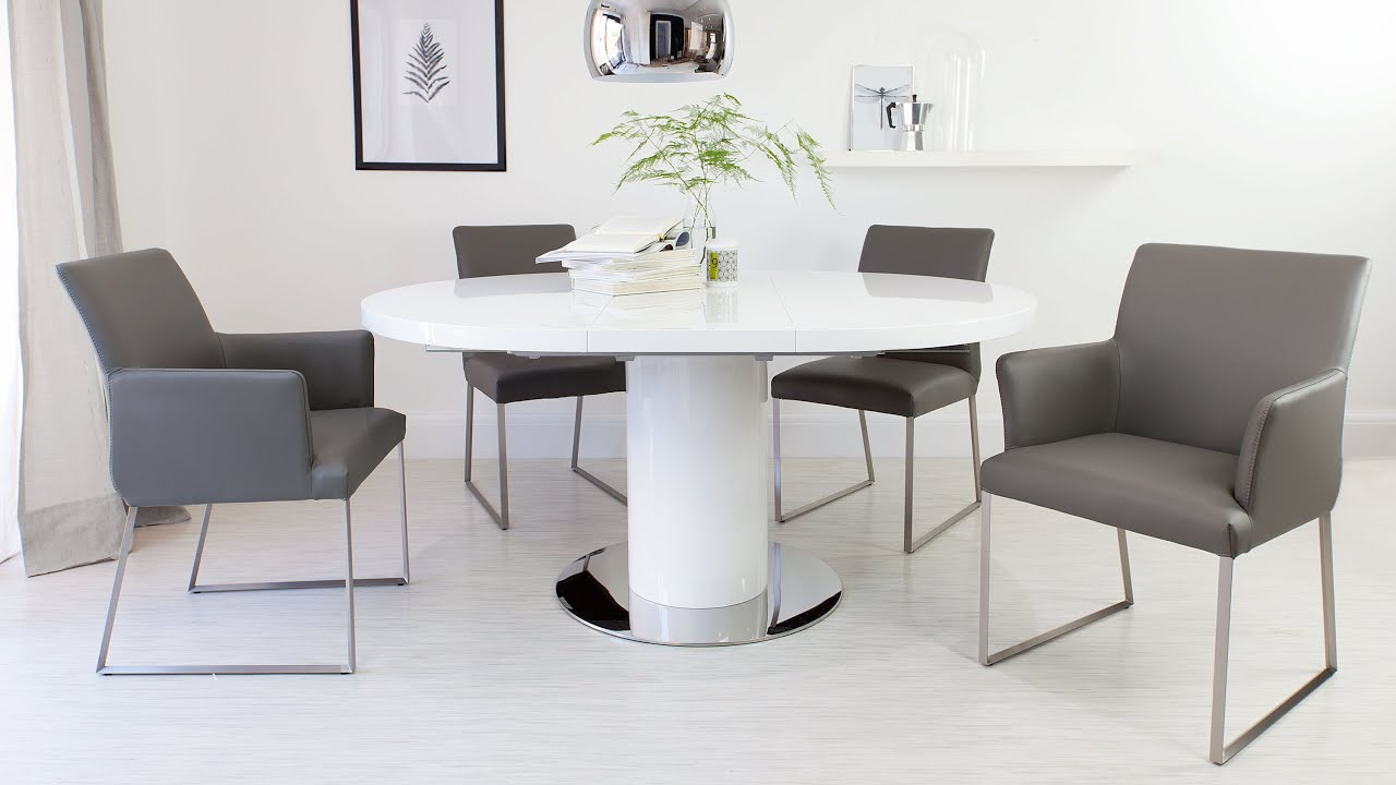 Round white gloss extending dining table and real leather for Small white dining table set