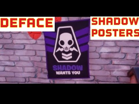 Deface Shadow Recruitment Posters Locations - Fortnite Week 6 Deadpool's Challenges Guide