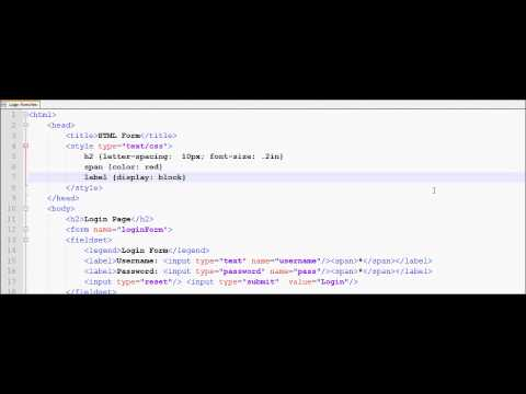 HTML Tutorial 33 - HTML Login Form And CSS
