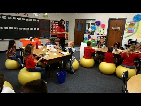 1st grade classroom uses yoga balls instead of chairs