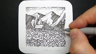 Mini Landscape with Black Pen - Flowers, House and Mountains - Not too Fast