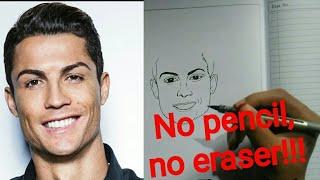 Drawing【 Cristiano Ronaldo】⚽⚽⚽ Step by step no pencil,no eraser!!!!!