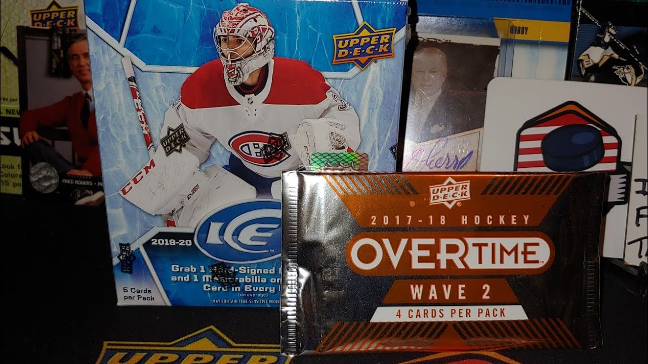 Opening a hot box of 2019-20 Upper-deck Ice hockey card box