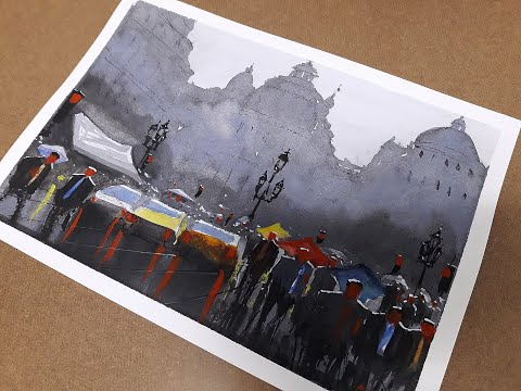 EP. 37 – Crowded People in a Rainy Day – Watercolor Painting