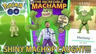 SHINY MACHOP CAUGHT AND EVOLVED IN POKEMON GO!!! SHINY MACHAMP!