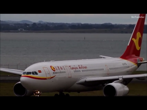 Tianjin Airlines A330-200 landing from Chongqing at Auckland Airport
