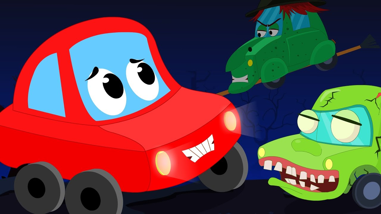 Little Red Car Rhymes - It's Halloween Night | Scary Song | Little ...