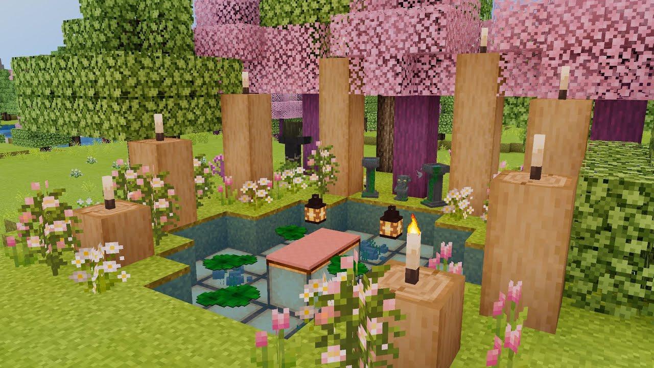 Sakura Cherry Blossom Tree Addon Japanese Meditation Garden Speed Build Minecraft Pe Youtube