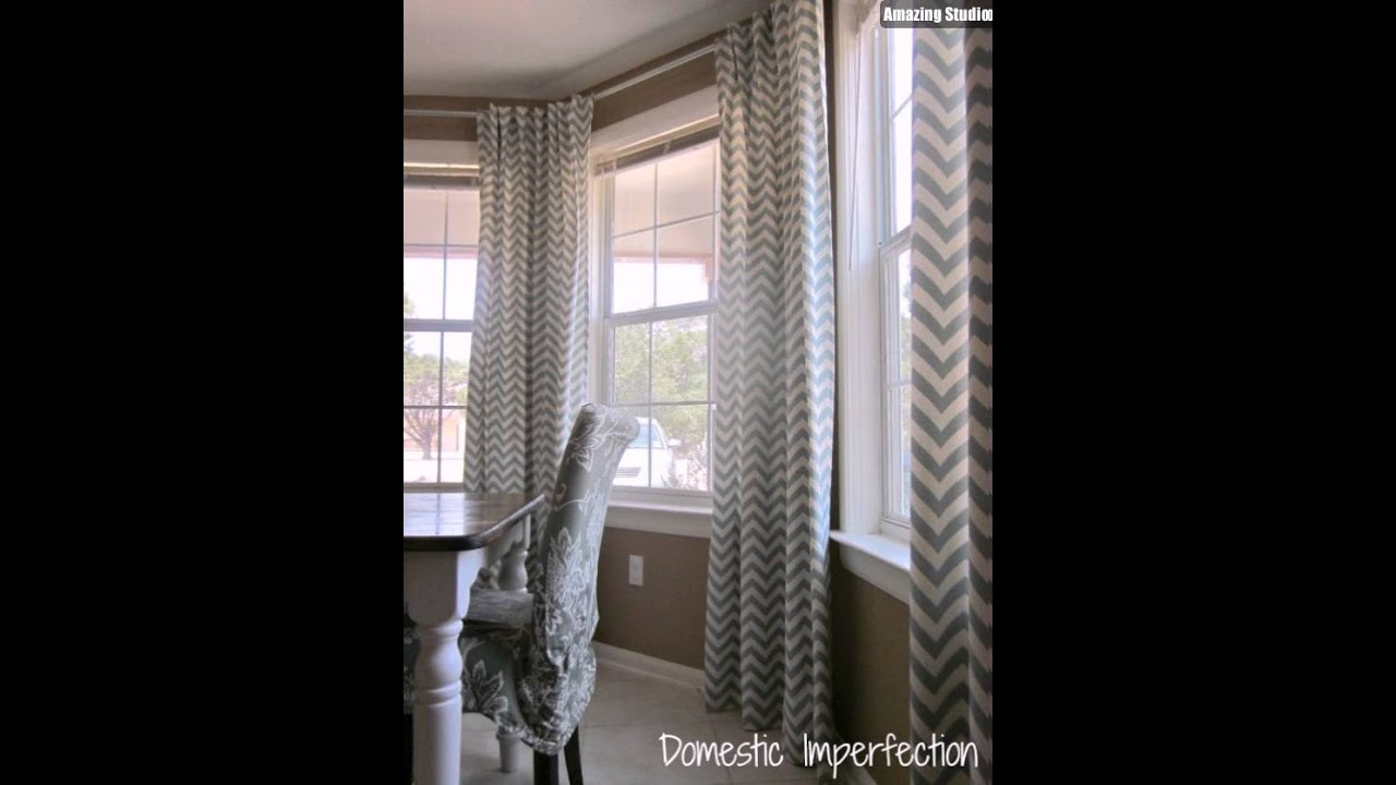 DIY Bay Window Curtain Rod Back Tab Curtains - YouTube