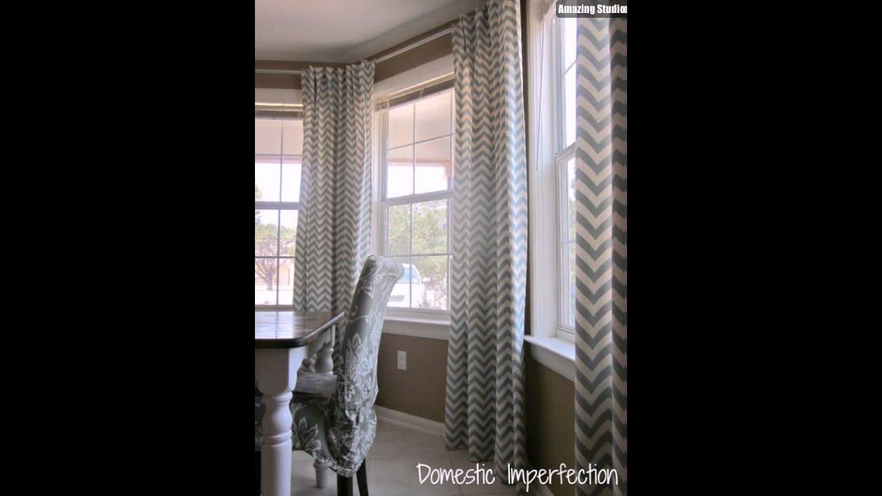 DIY Bay Window Curtain Rod Back Tab Curtains - YouTube