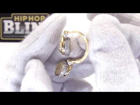 DJ Headphones Hip Hop Music Pendant | Gold Bling Jewelry