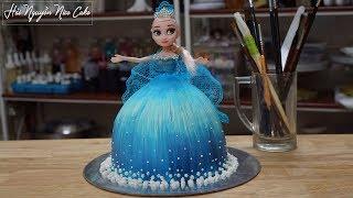 Bánh Sinh Nhật Búp Bê Elsa Trang Trí Vẽ Hình Và Váy Ren - Decorate Elsa Cake Easy to Make