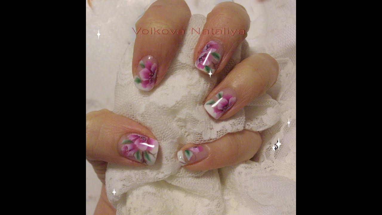 Micropittura fiori nail art one stroke sulle unghie naturali e micropittura fiori nail art one stroke sulle unghie naturali e ricostruzione youtube prinsesfo Gallery