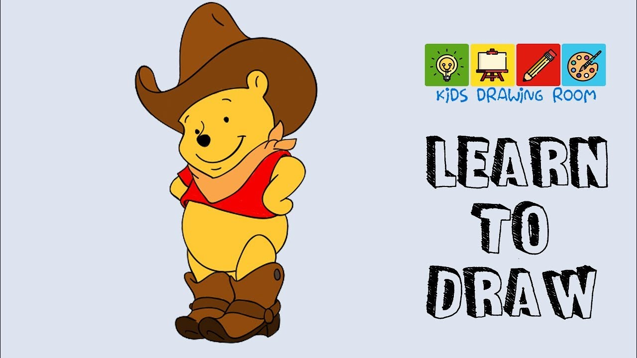 how to draw  winnie the pooh  cowboy bear  youtube
