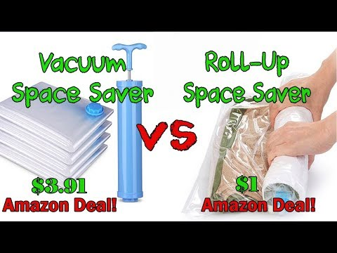 Vacuum Storage Saver Bags vs Roll Up Space Saver Compression Travel Bag Review | Amazon Cheap Deals
