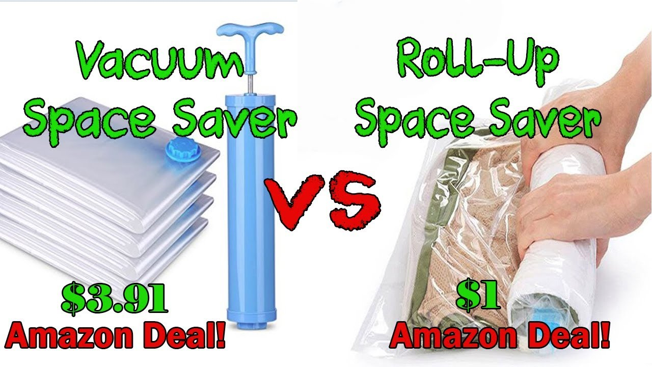 Vacuum Storage Saver Bags Vs Roll Up Space Compression Travel Vacum Bag Review Amazon Cheap Deals