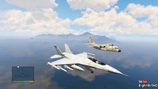 GTA 5 AIRPLANE P-996 Lazer (F-16 Fighting Falcon) TAKE OFF AND LANDING!
