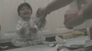 Laughing Baby Ripping Paper Cutie