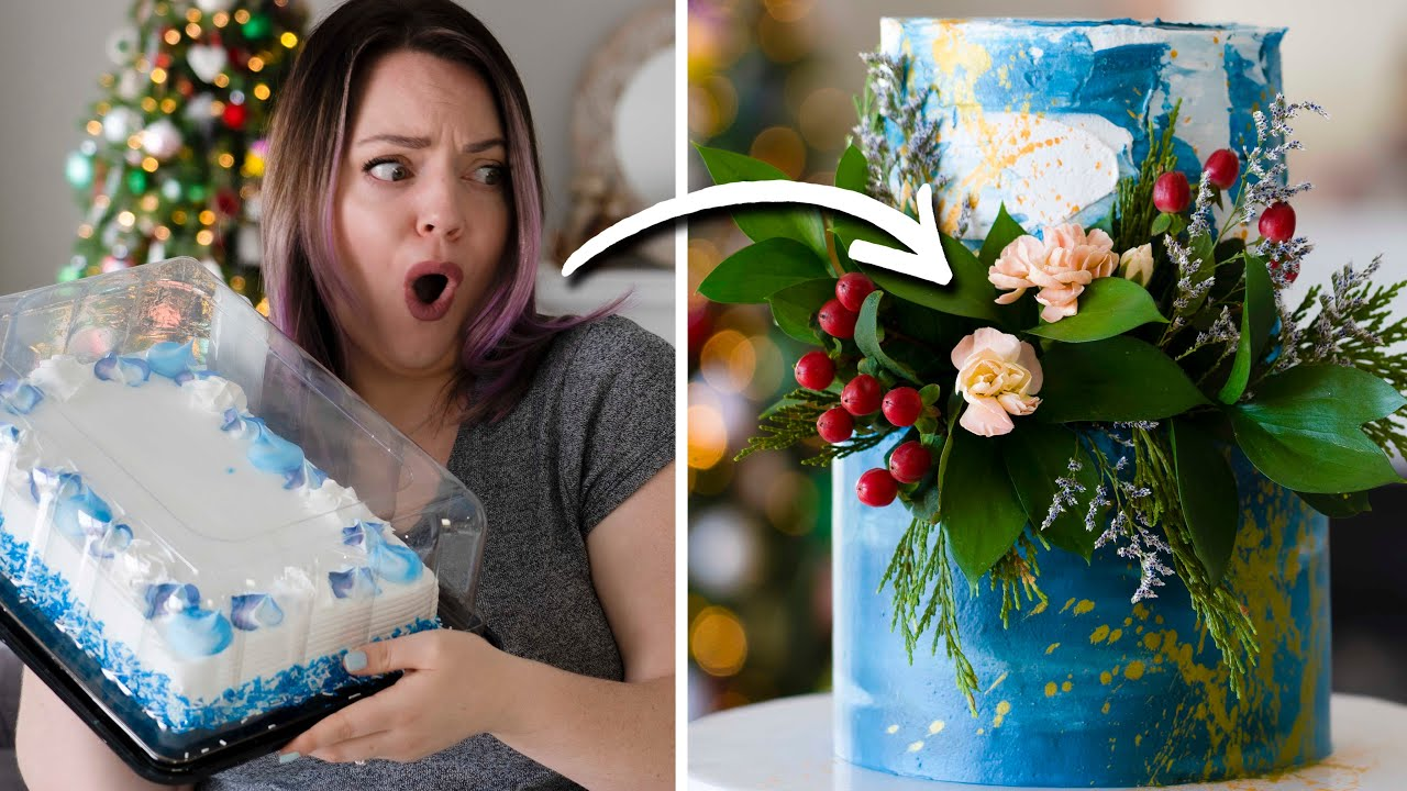 Turning a $20 Grocery Store Cake into a Winter Wedding Cake!
