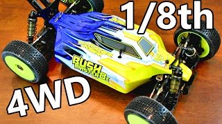 Gambar cover HUGE RC Race Track Buggy - Thunder Tiger BushMaster 8E Unboxing - 1/8th 4WD BL RTR - TheRcSaylors