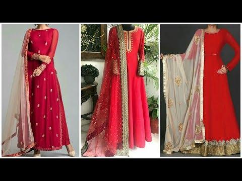 #Anarkali in Red Color l Indian dress/Chudidar For Valentine Day 2019