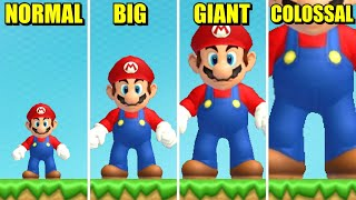 New Super Mario Bros Wii - Mini vs Small vs Big vs Giant vs Colossal Mario