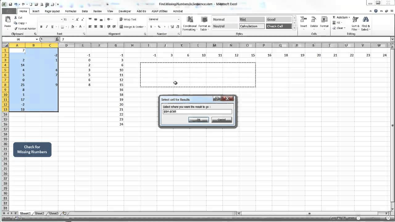Finding Missing Numbers in a Range Using VBA • My Online
