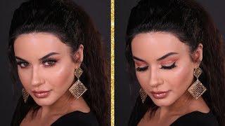 Peachy cut crease makeup look