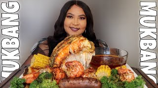 GIANT LOBSTER TAIL SEAFOOD BOIL MUKBANG WITH @Rhonda's Red Sauce SEASONING REVIEW