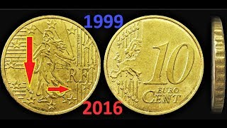 10 cents France 1999 - 2016 European Union Signs on coins Price Знаки на монетах Франции Тираж ЦЕНА