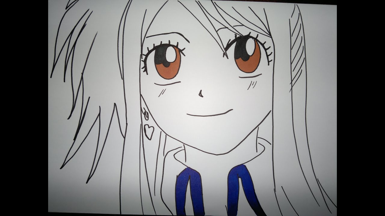 Lucy Heartfilia Lineart : How to draw lucy heartfilia.ルーシィ·ハートフィリアを描画する方法