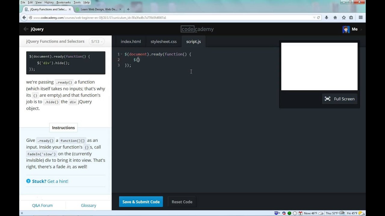 Codecademy: jQuery - Using Functions to Select HTML ...