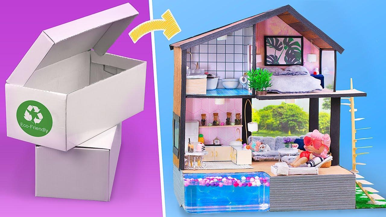 Bir Ayakkabı Kutusu İçine Kendin Yap Tarzı Minyatür Oyuncak Ev