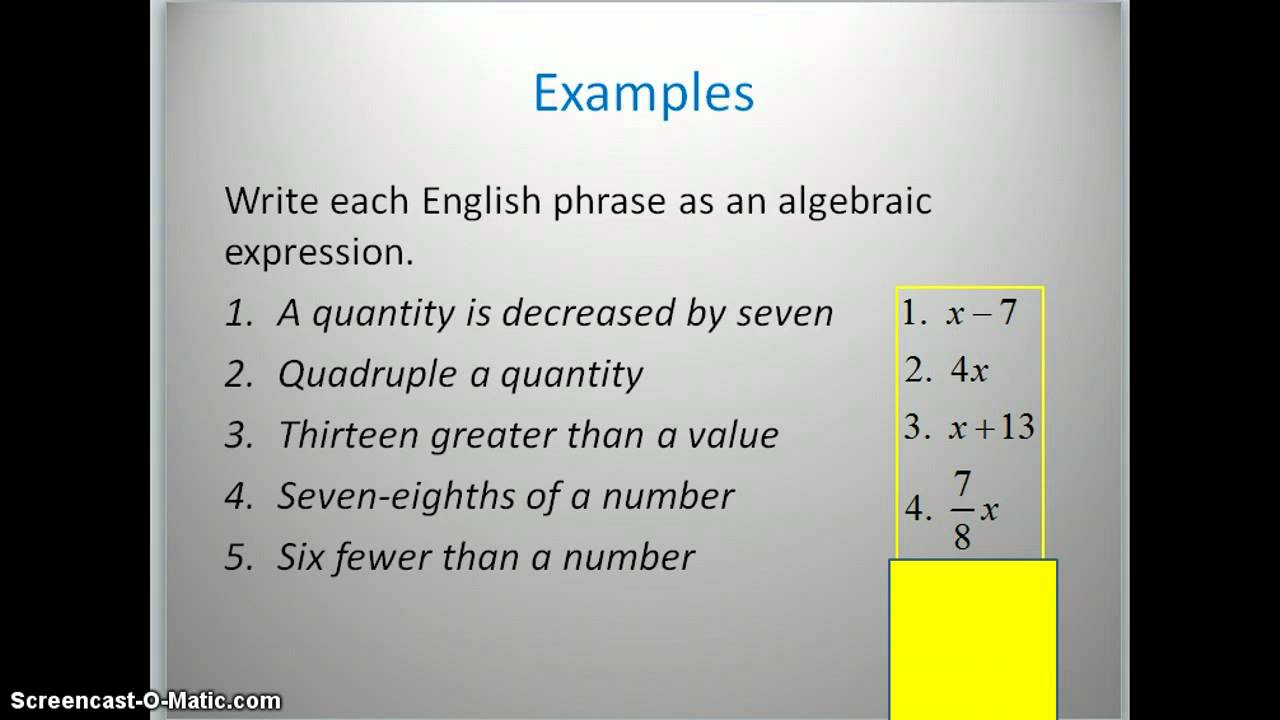 Translating English Phrases Into Algebraic Expressions Youtube