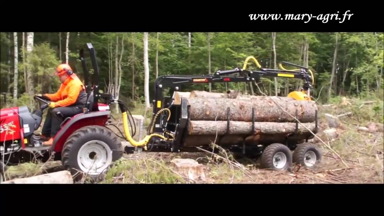 remorque 3t avec grue pour micro et petits tracteurs youtube. Black Bedroom Furniture Sets. Home Design Ideas