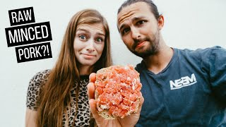 Trying Mett (Raw Miฑced Pork😳) & German Spaghetti Ice Cream for the first time!   Germany Food Vlog