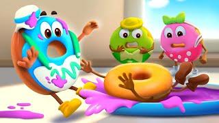 カラフルドーナツ★ダンスチャレンジ★ドーナツのチャレンジ第4話 | 赤ちゃんが喜ぶアニメ | 動画 | ベビーバス| BabyBus